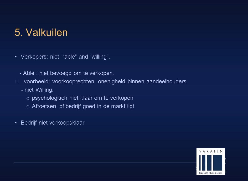 """23 5. Valkuilen •Verkopers: niet """"able"""" and """"willing"""". - Able : niet bevoegd om te verkopen.  voorbeeld: voorkooprechten, onenigheid binnen aandeelho"""
