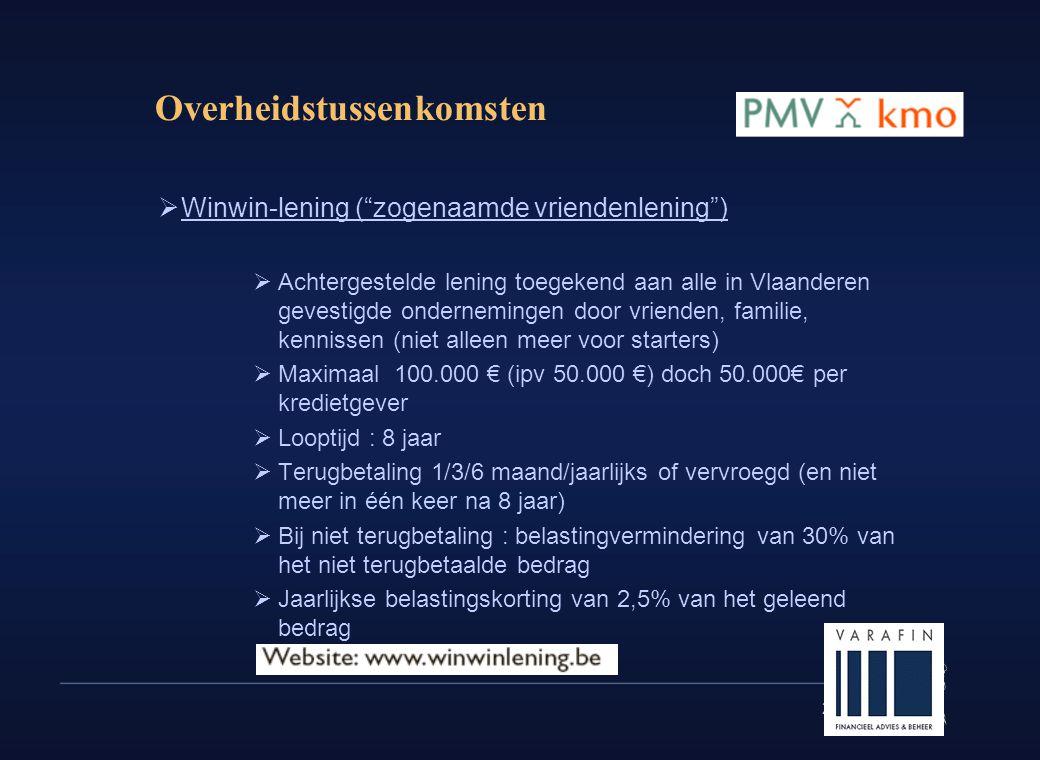 """29 Overheidstussenkomsten  Winwin-lening (""""zogenaamde vriendenlening"""")  Achtergestelde lening toegekend aan alle in Vlaanderen gevestigde ondernemin"""