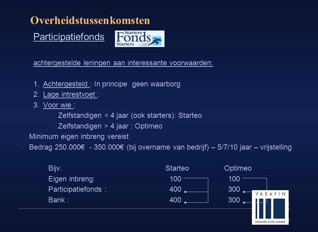 30 Overheidstussenkomsten Participatiefonds achtergestelde leningen aan interessante voorwaarden: 1.Achtergesteld : In principe geen waarborg 2.Lage intrestvoet : 3.Voor wie :  Zelfstandigen < 4 jaar (ook starters): Starteo  Zelfstandigen > 4 jaar : Optimeo  Minimum eigen inbreng vereist  Bedrag 250.000€ - 350.000€ (bij overname van bedrijf) – 5/7/10 jaar – vrijstelling Bijv.