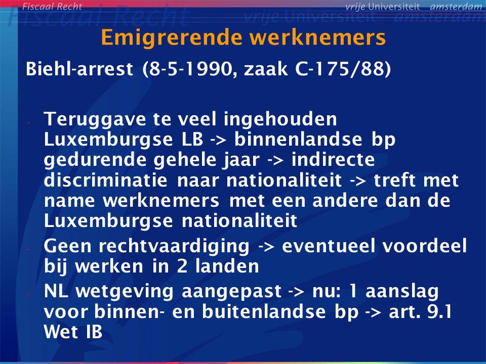 Tegemoetkomingen/inkomenseis Vervolg Gschwind-arrest • Grenzpendlergesetz -> VW: (i) minimaal 90% van inkomen echtelieden is onderworpen aan Dld belasting of (ii) inkomen dat niet onderworpen is aan Dld belasting is max DEM 24.000 • HvJ: geen recht op splittingtarief in Dld • 42% van gezinsinkomen wordt in NL verworven -> NL kan overeenkomstig zijn wetgeving rekening houden met de persoonlijke en gezinssituatie omdat de belastinggrondslag in NL voldoende is (r.o.