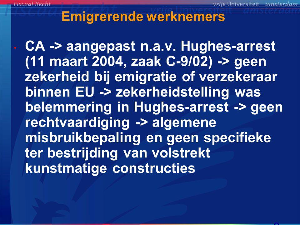 Tegemoetkomingen/inkomenseis De Groot-arrest (12 december 2002, zaak C-385/00) • Salary split -> alimentatie -> voorkoming van dubbele belasting (evenredigheidsbreuk) -> deel toerekenbaar aan werklanden (Fra, Dld, VK) niet aftrekbaar (60%) -> belemmering -> woonstaat (NL) moet gehele aftrek toestaan • Geen rechtvaardigingsgrond -> voordeel salary split