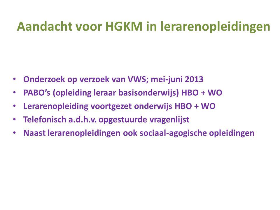 Aandacht voor HGKM in lerarenopleidingen • Onderzoek op verzoek van VWS; mei-juni 2013 • PABO's (opleiding leraar basisonderwijs) HBO + WO • Lerarenop