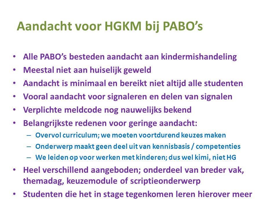 Aandacht voor HGKM bij PABO's • Alle PABO's besteden aandacht aan kindermishandeling • Meestal niet aan huiselijk geweld • Aandacht is minimaal en ber