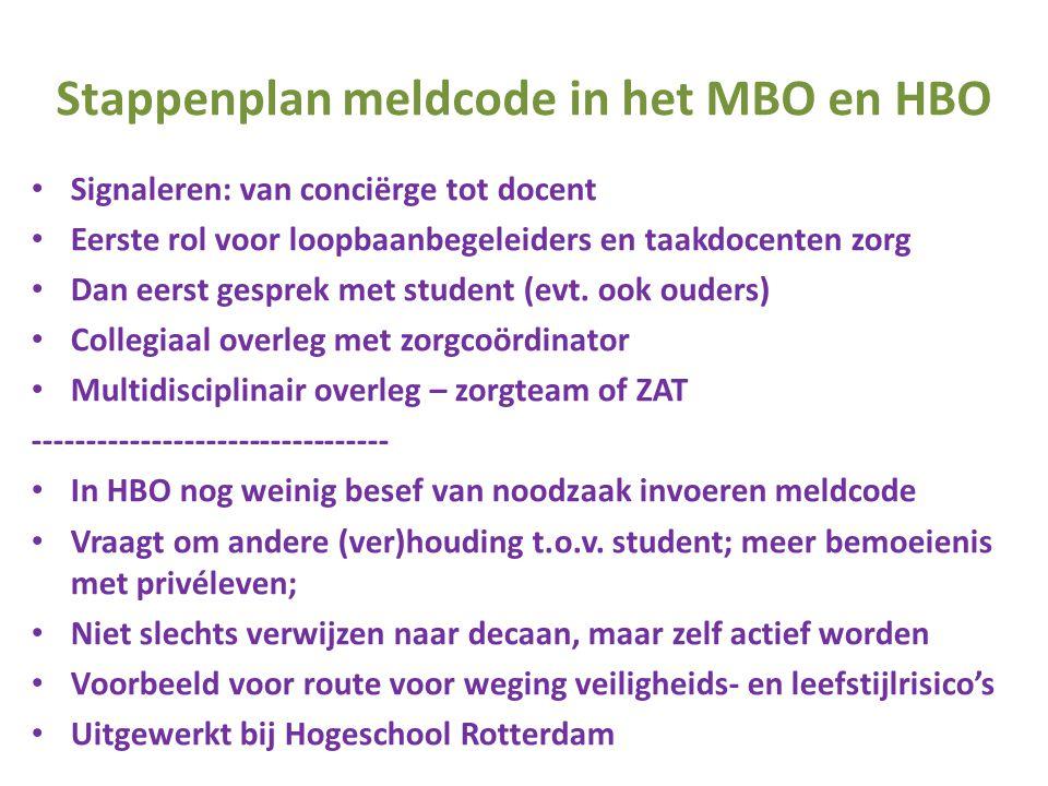 Stappenplan meldcode in het MBO en HBO • Signaleren: van conciërge tot docent • Eerste rol voor loopbaanbegeleiders en taakdocenten zorg • Dan eerst g