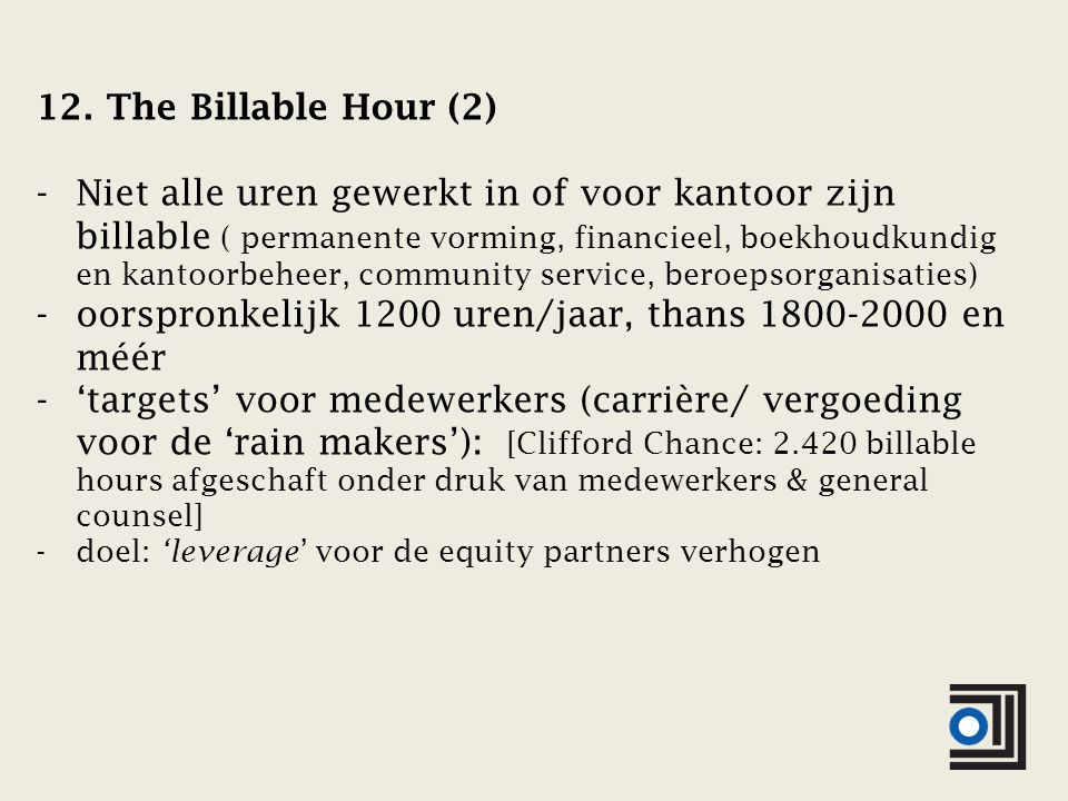 12. The Billable Hour (2) -Niet alle uren gewerkt in of voor kantoor zijn billable ( permanente vorming, financieel, boekhoudkundig en kantoorbeheer,