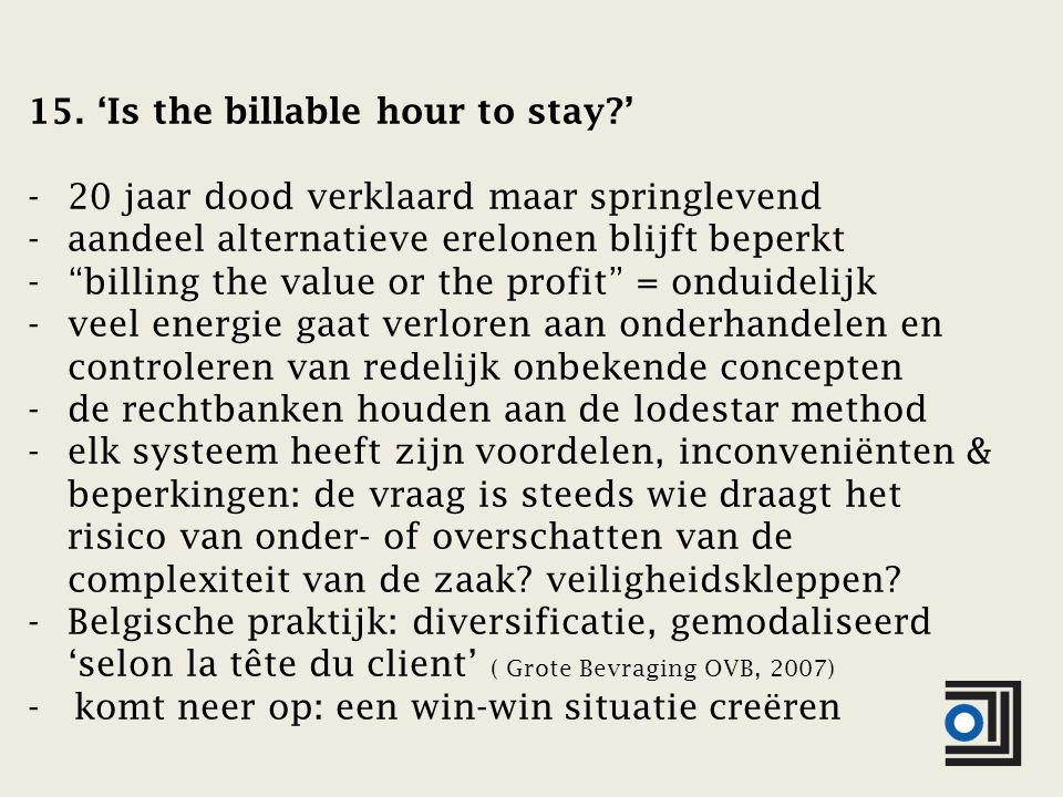 """15. 'Is the billable hour to stay?' -20 jaar dood verklaard maar springlevend -aandeel alternatieve erelonen blijft beperkt -""""billing the value or the"""
