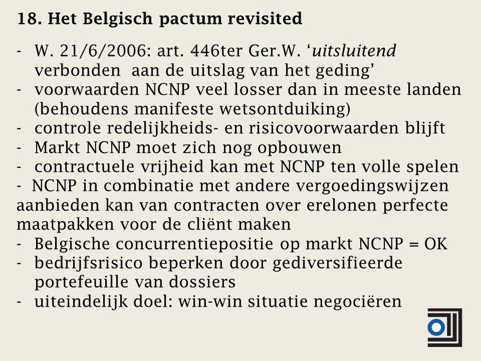 18. Het Belgisch pactum revisited -W. 21/6/2006: art.