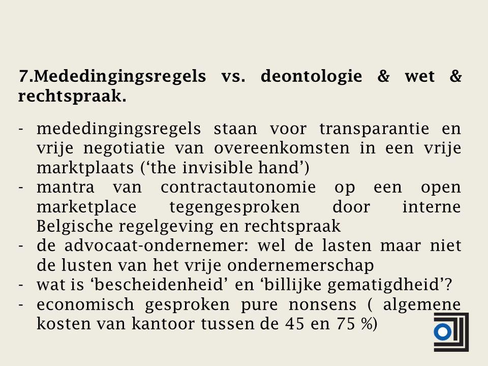 7.Mededingingsregels vs. deontologie & wet & rechtspraak. -mededingingsregels staan voor transparantie en vrije negotiatie van overeenkomsten in een v
