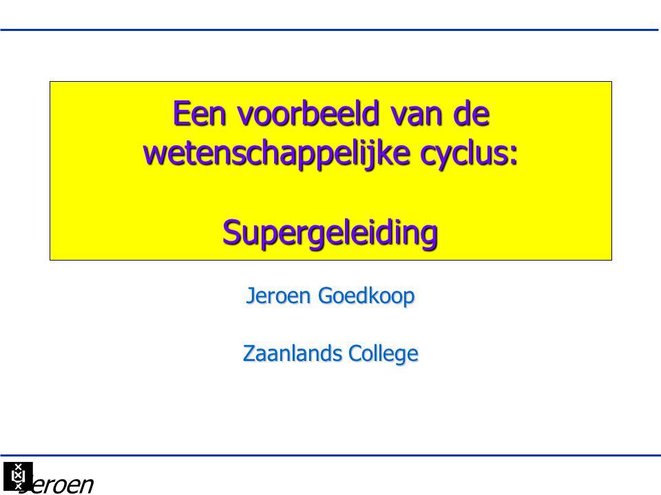 Een voorbeeld van de wetenschappelijke cyclus: Supergeleiding Jeroen Goedkoop Zaanlands College •Jeroen Goedko op •2012