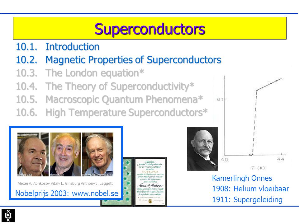 Superconductors 10.1.Introduction 10.2.Magnetic Properties of Superconductors 10.3.The London equation* 10.4.The Theory of Superconductivity* 10.5.Mac