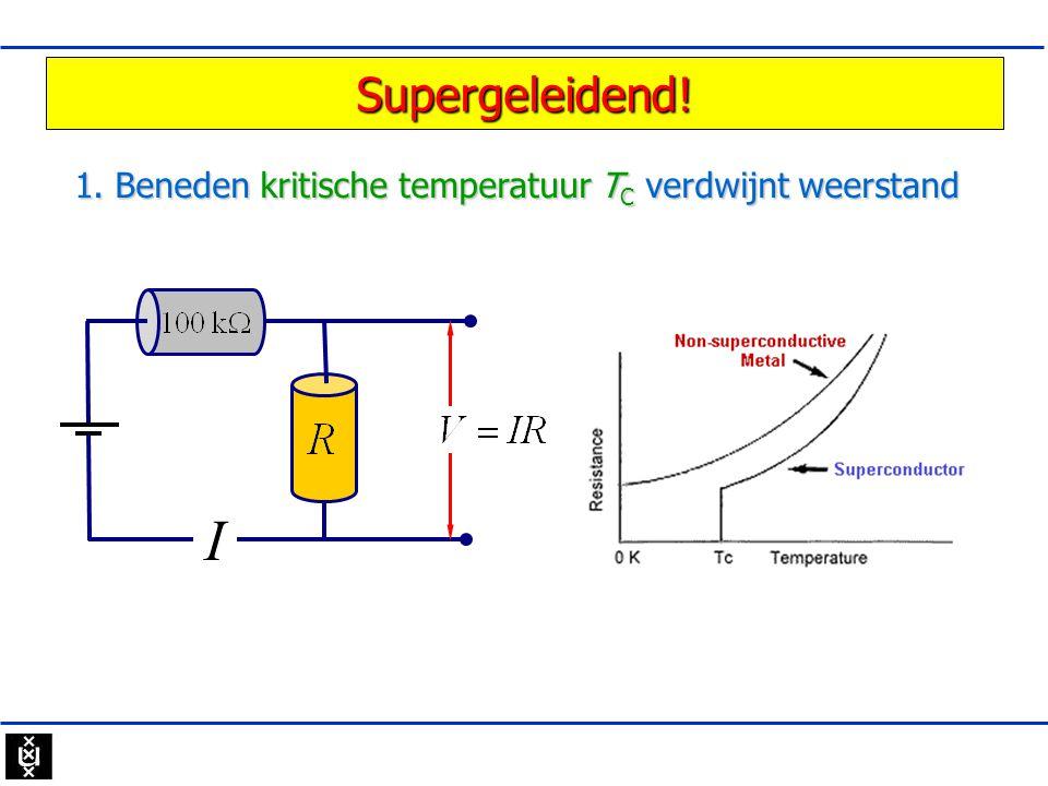 Supergeleidend! 1. Beneden kritische temperatuur T C verdwijnt weerstand I