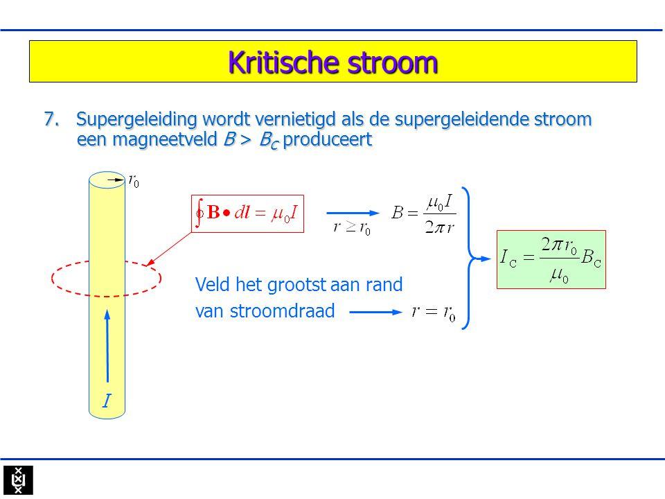 Kritische stroom 7. Supergeleiding wordt vernietigd als de supergeleidende stroom een magneetveld B > B C produceert I Veld het grootst aan rand van s