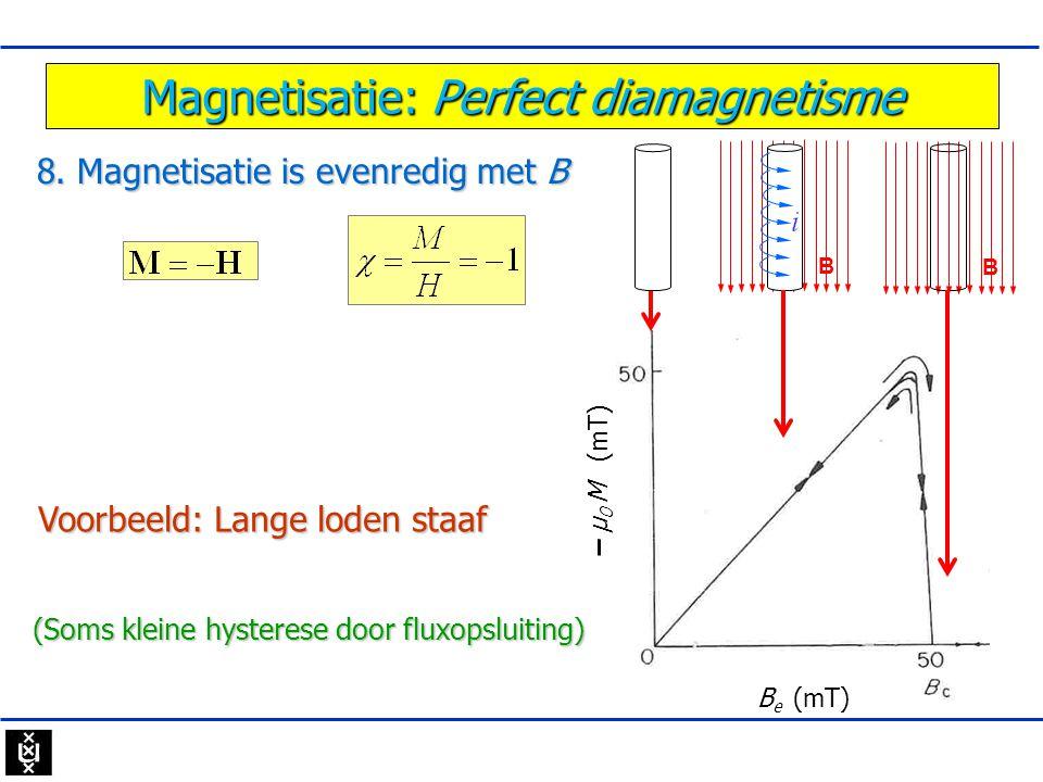 Magnetisatie: Perfect diamagnetisme 8. Magnetisatie is evenredig met B B e (mT) - μ 0 M (mT) Voorbeeld: Lange loden staaf (Soms kleine hysterese door
