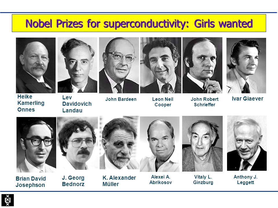 Nobel Prizes for superconductivity: Girls wanted Lev Davidovich Landau John BardeenLeon Neil Cooper John Robert Schrieffer Heike Kamerling Onnes J. Ge