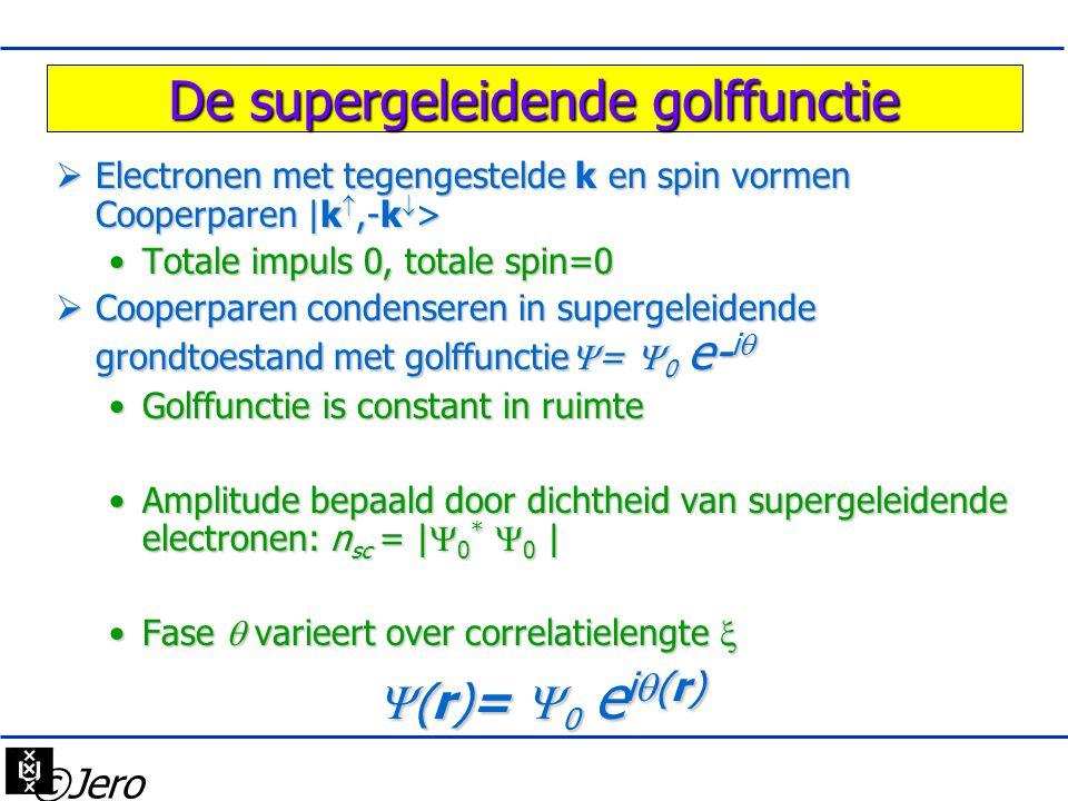 De supergeleidende golffunctie  Electronen met tegengestelde k en spin vormen Cooperparen |k ,-k  > •Totale impuls 0, totale spin=0  Cooperparen c