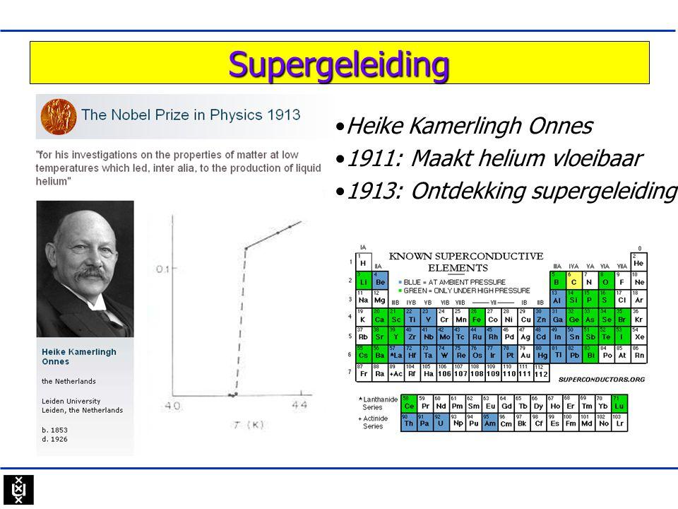 Hoge T c supergeleiders •Jeroen Goedko op •2012 1986 Nieuwe klasse ontdekt •YBa 2 Cu 3 O 7 o Geen metalen maar oxides o Uitgangsmateriaal is isolator o T c 10x hoger dan in metalen.