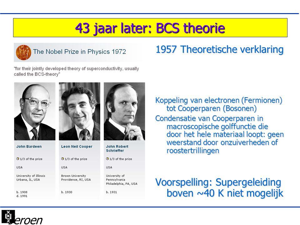 43 jaar later: BCS theorie 1957 Theoretische verklaring Koppeling van electronen (Fermionen) tot Cooperparen (Bosonen) Condensatie van Cooperparen in