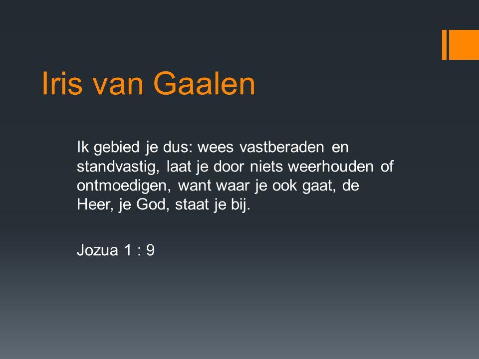 Iris van Gaalen Ik gebied je dus: wees vastberaden en standvastig, laat je door niets weerhouden of ontmoedigen, want waar je ook gaat, de Heer, je God, staat je bij.