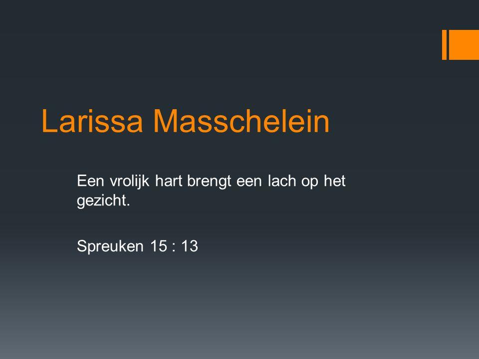 Larissa Masschelein Een vrolijk hart brengt een lach op het gezicht. Spreuken 15 : 13