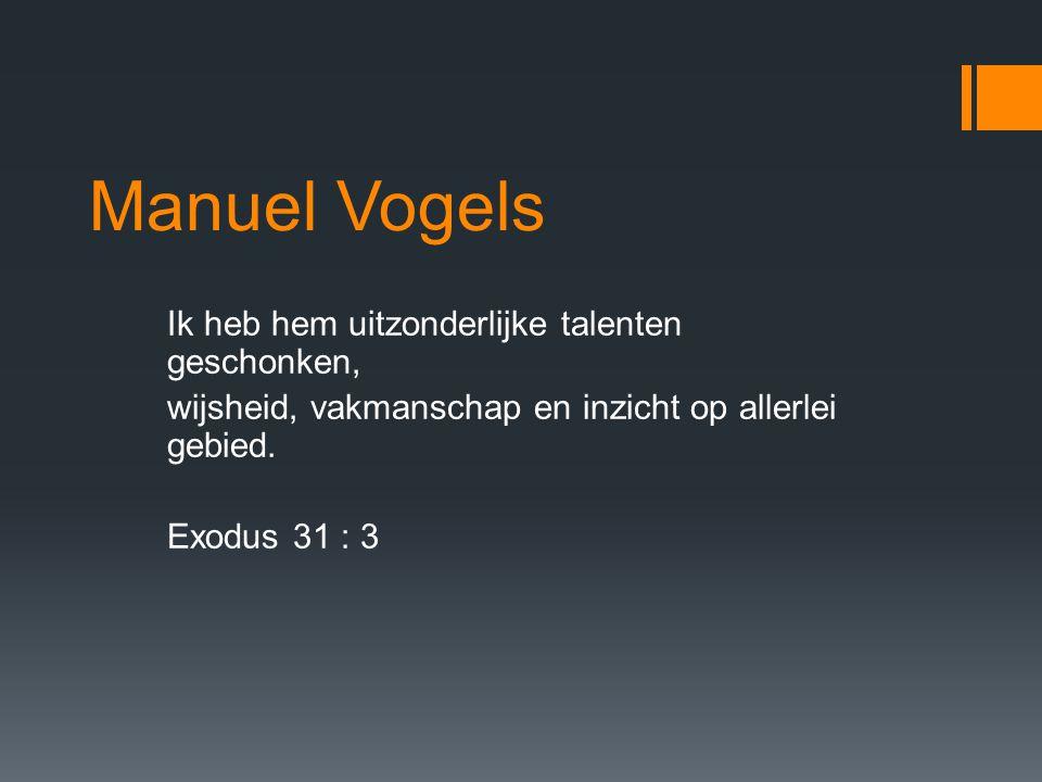 Manuel Vogels Ik heb hem uitzonderlijke talenten geschonken, wijsheid, vakmanschap en inzicht op allerlei gebied.