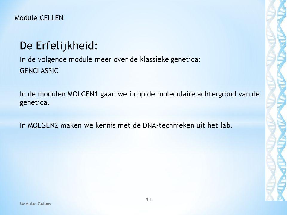De Erfelijkheid: In de volgende module meer over de klassieke genetica: GENCLASSIC In de modulen MOLGEN1 gaan we in op de moleculaire achtergrond van