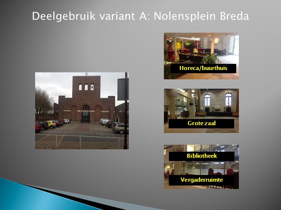 Deelgebruik variant A: Nolensplein Breda Horeca/buurthuis Grote zaal Bibliotheek Vergaderruimte