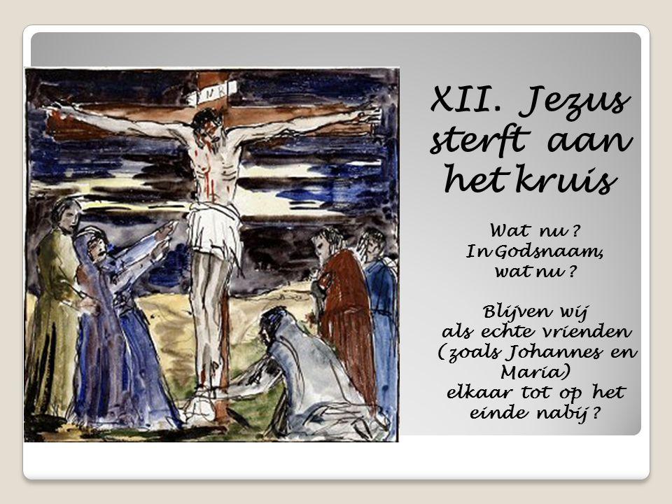 XII. Jezus sterft aan het kruis Wat nu ? In Godsnaam, wat nu ? Blijven wij als echte vrienden (zoals Johannes en Maria) elkaar tot op het einde nabij
