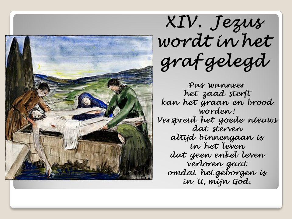 XIV. Jezus wordt in het graf gelegd Pas wanneer het zaad sterft kan het graan en brood worden ! Verspreid het goede nieuws dat sterven altijd binnenga