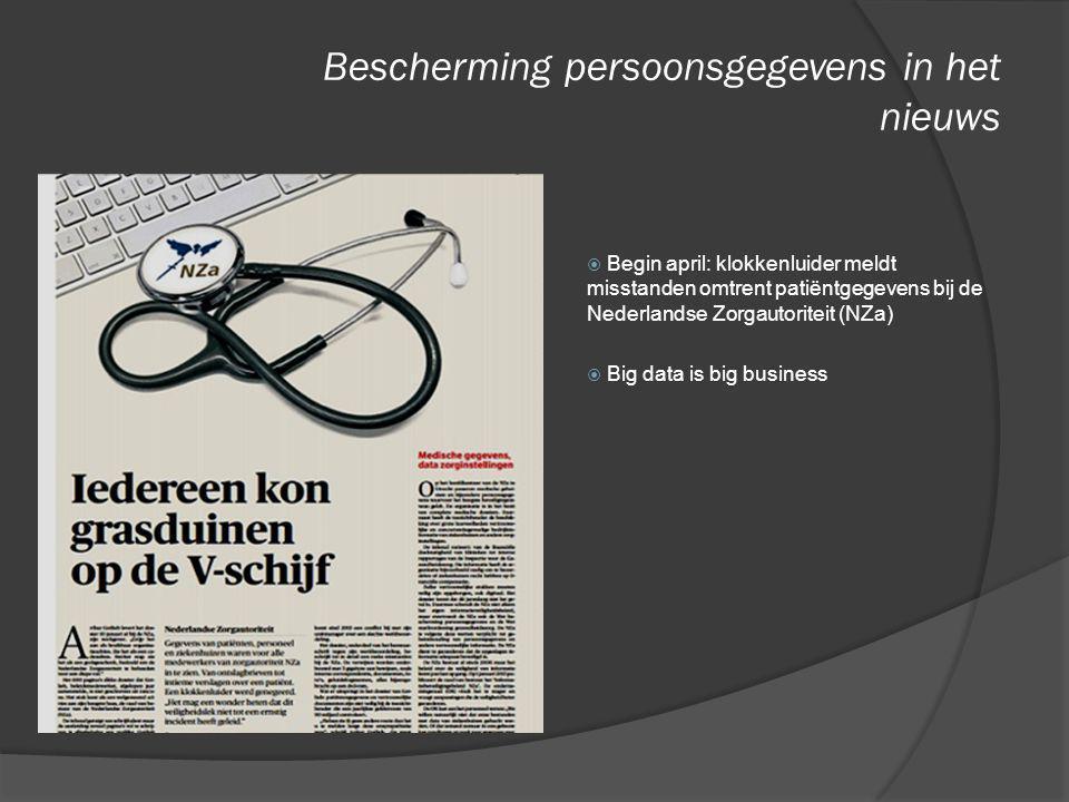 Bescherming persoonsgegevens in het nieuws  Begin april: klokkenluider meldt misstanden omtrent patiëntgegevens bij de Nederlandse Zorgautoriteit (NZ