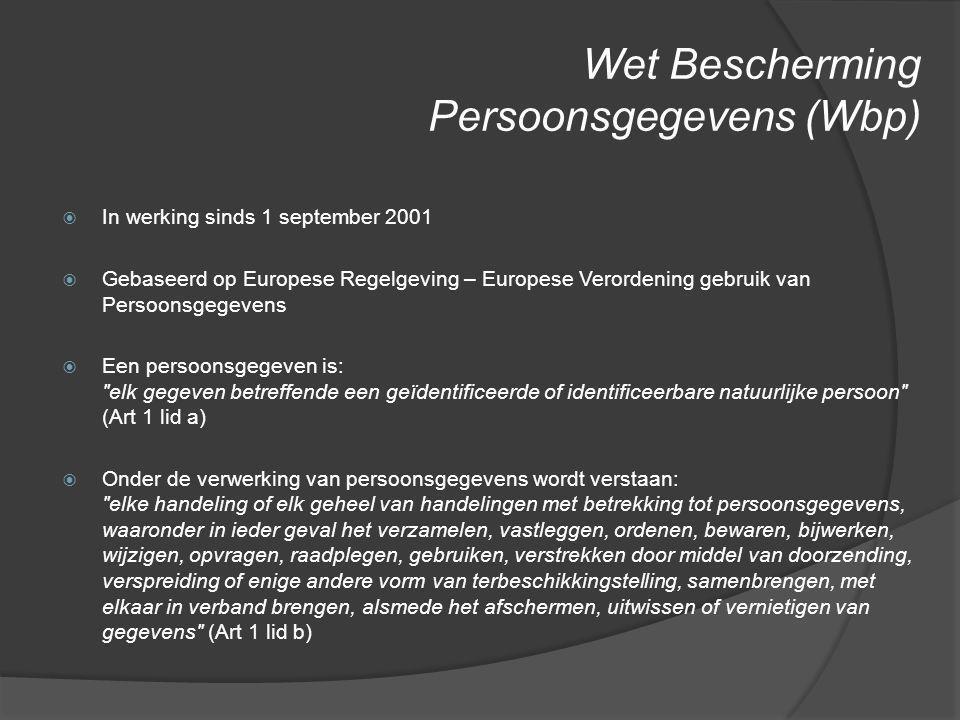 Wet Bescherming Persoonsgegevens (Wbp)  In werking sinds 1 september 2001  Gebaseerd op Europese Regelgeving – Europese Verordening gebruik van Pers