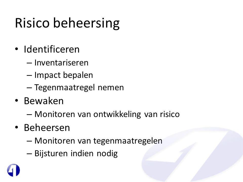 Risico beheersing • Identificeren – Inventariseren – Impact bepalen – Tegenmaatregel nemen • Bewaken – Monitoren van ontwikkeling van risico • Beheers
