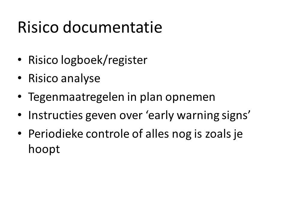 Risico documentatie • Risico logboek/register • Risico analyse • Tegenmaatregelen in plan opnemen • Instructies geven over 'early warning signs' • Per