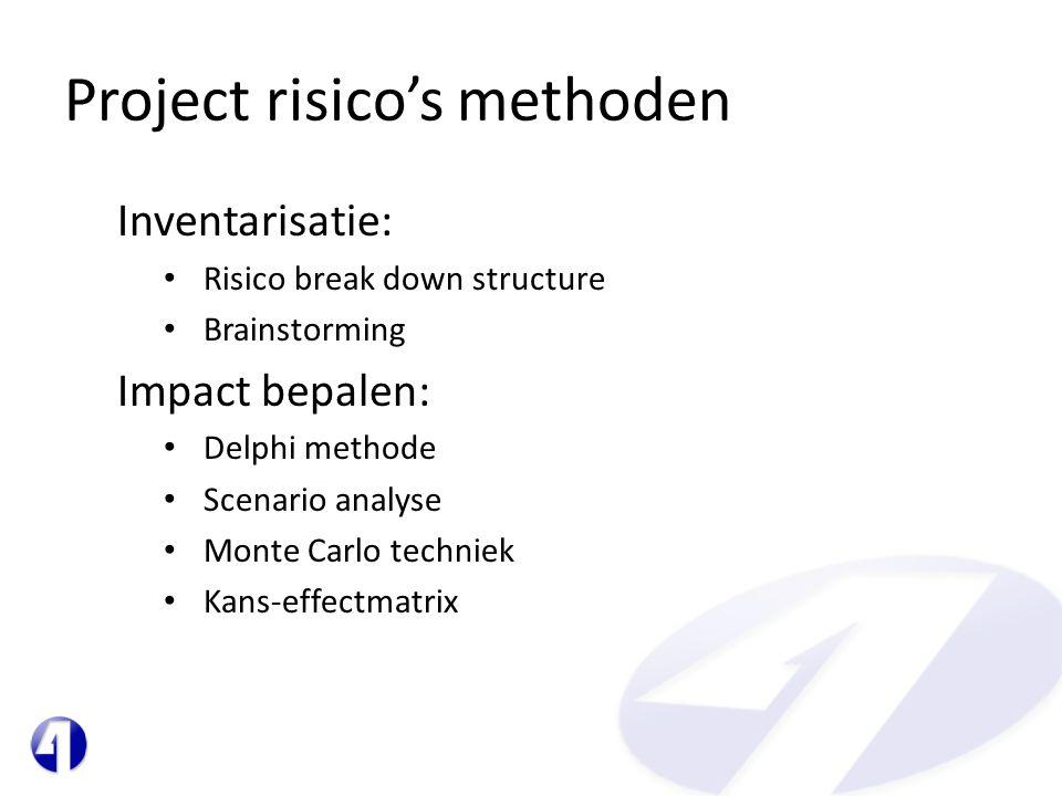 Project risico's methoden Inventarisatie: • Risico break down structure • Brainstorming Impact bepalen: • Delphi methode • Scenario analyse • Monte Ca