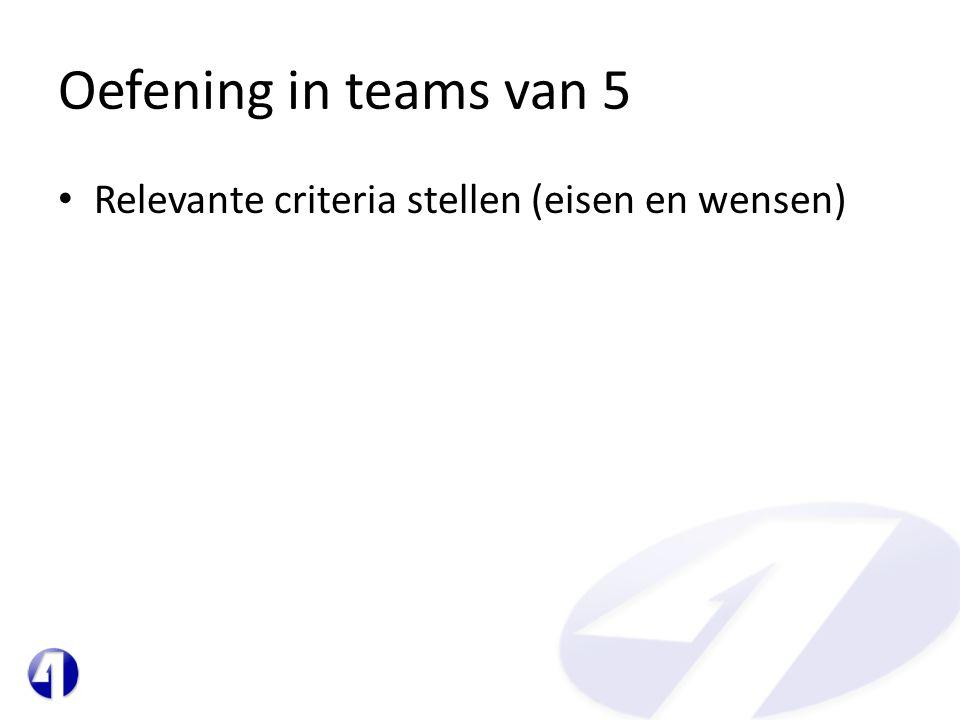 Oefening in teams van 5 • Relevante criteria stellen (eisen en wensen)