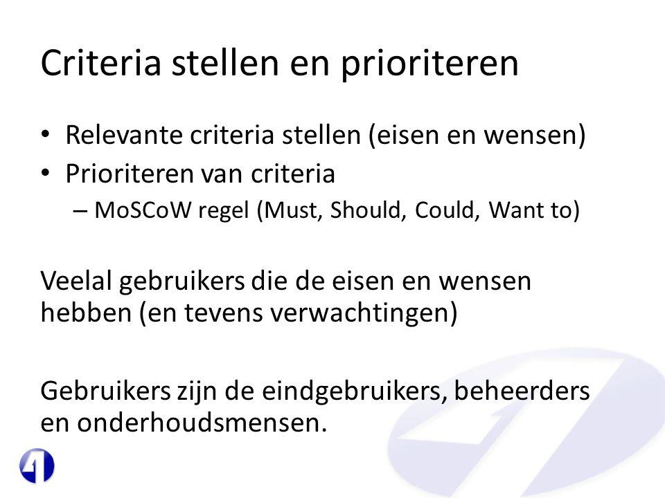 Criteria stellen en prioriteren • Relevante criteria stellen (eisen en wensen) • Prioriteren van criteria – MoSCoW regel (Must, Should, Could, Want to