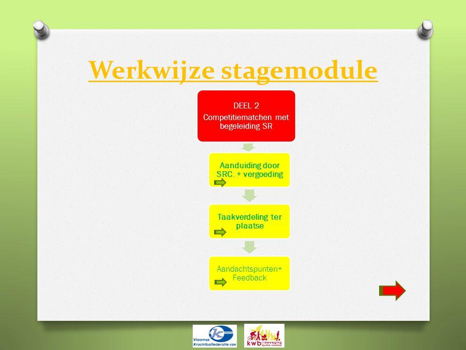 Werkwijze stagemodule DEEL 2 Competitiematchen met begeleiding SR Aanduiding door SRC. + vergoeding Taakverdeling ter plaatse Aandachtspunten+ Feedbac