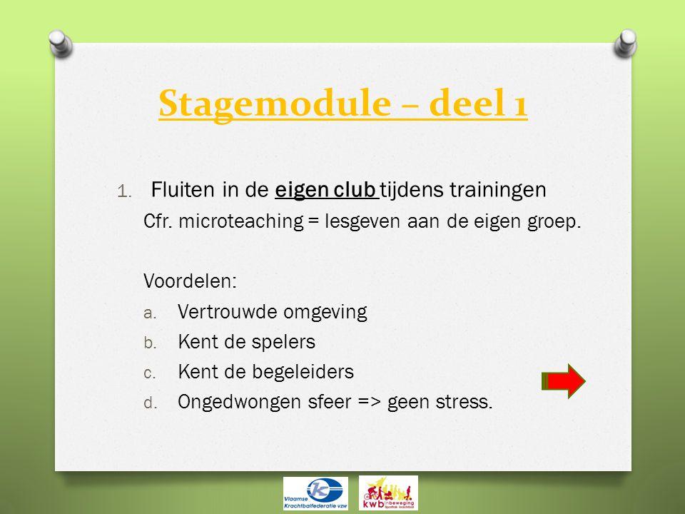Stagemodule – deel 1 1. Fluiten in de eigen club tijdens trainingen Cfr. microteaching = lesgeven aan de eigen groep. Voordelen: a. Vertrouwde omgevin