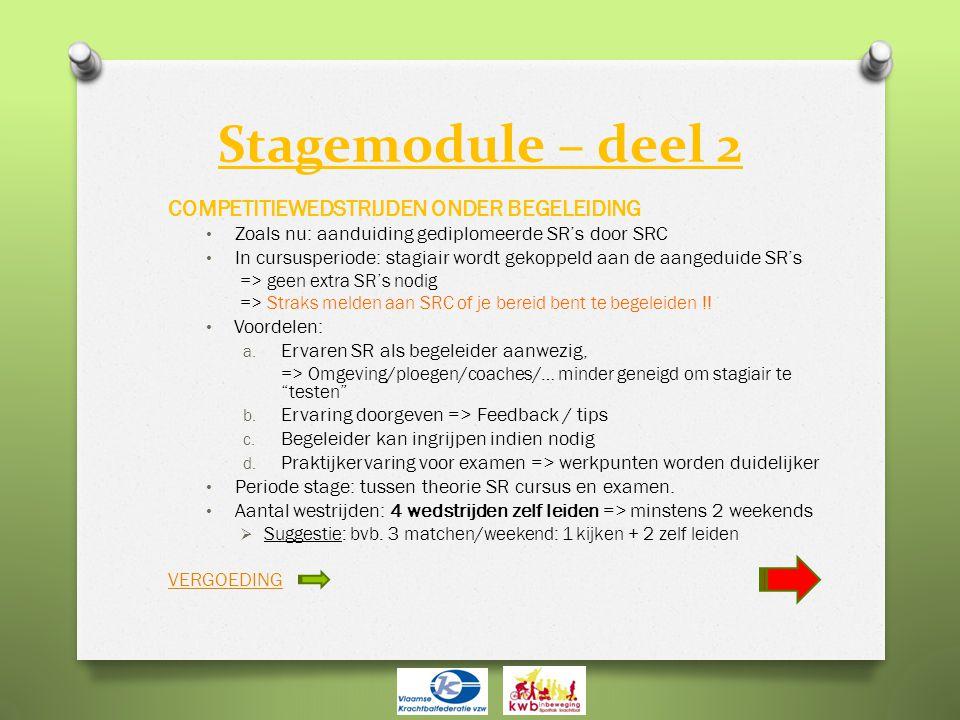 Stagemodule – deel 2 COMPETITIEWEDSTRIJDEN ONDER BEGELEIDING • Zoals nu: aanduiding gediplomeerde SR's door SRC • In cursusperiode: stagiair wordt gek