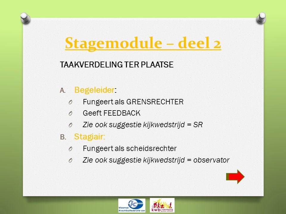 Stagemodule – deel 2 TAAKVERDELING TER PLAATSE A. Begeleider: O Fungeert als GRENSRECHTER O Geeft FEEDBACK O Zie ook suggestie kijkwedstrijd = SR B. S