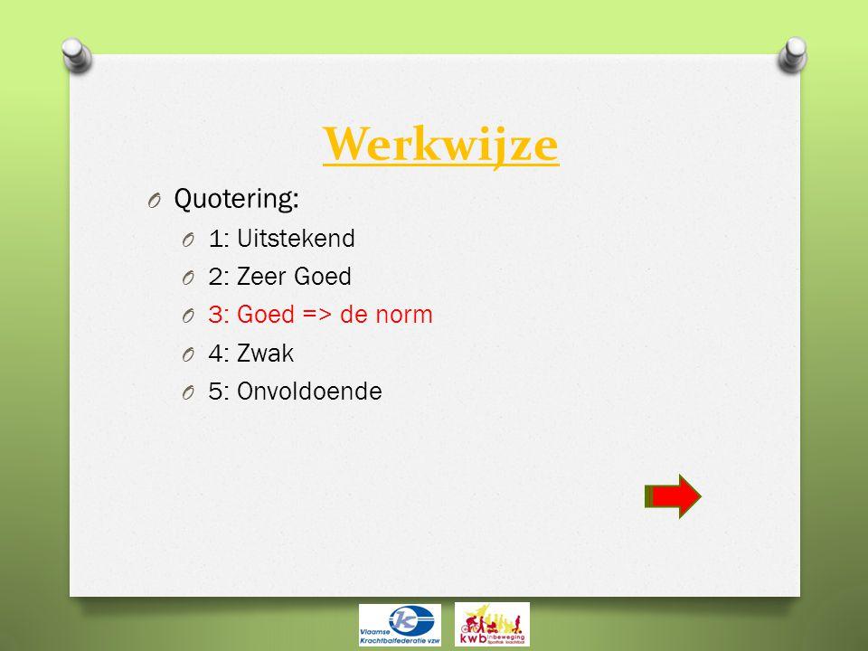 Werkwijze O Quotering: O 1: Uitstekend O 2: Zeer Goed O 3: Goed => de norm O 4: Zwak O 5: Onvoldoende