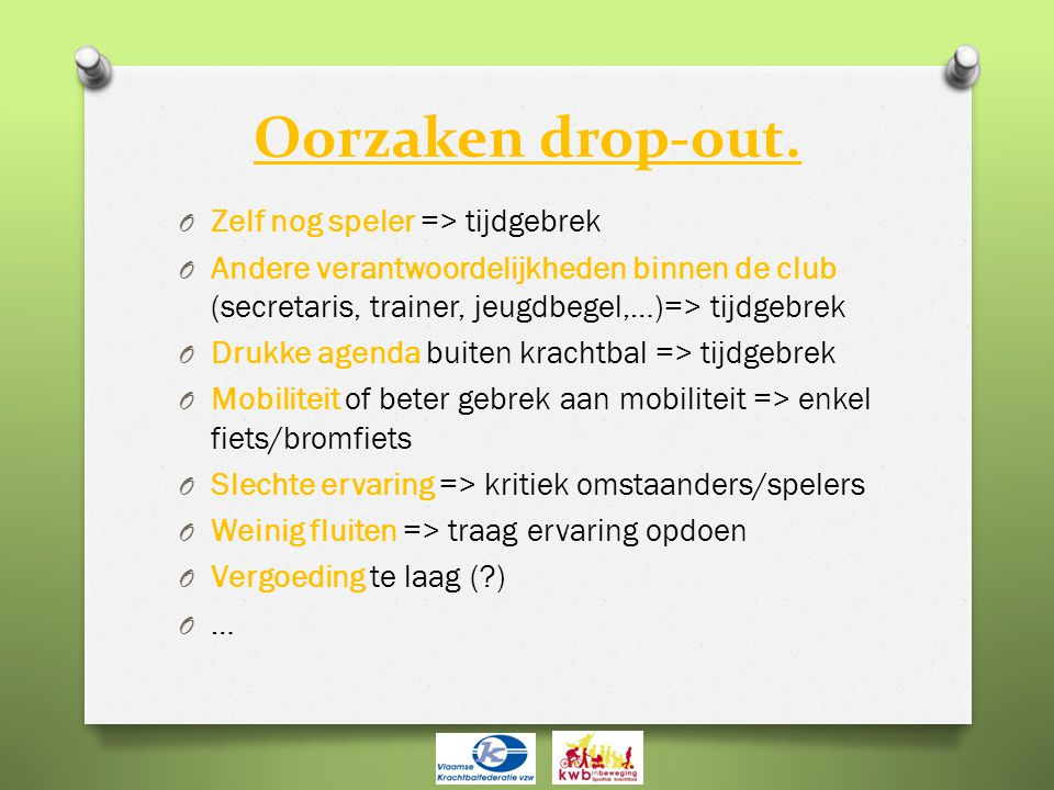 Oorzaken drop-out.