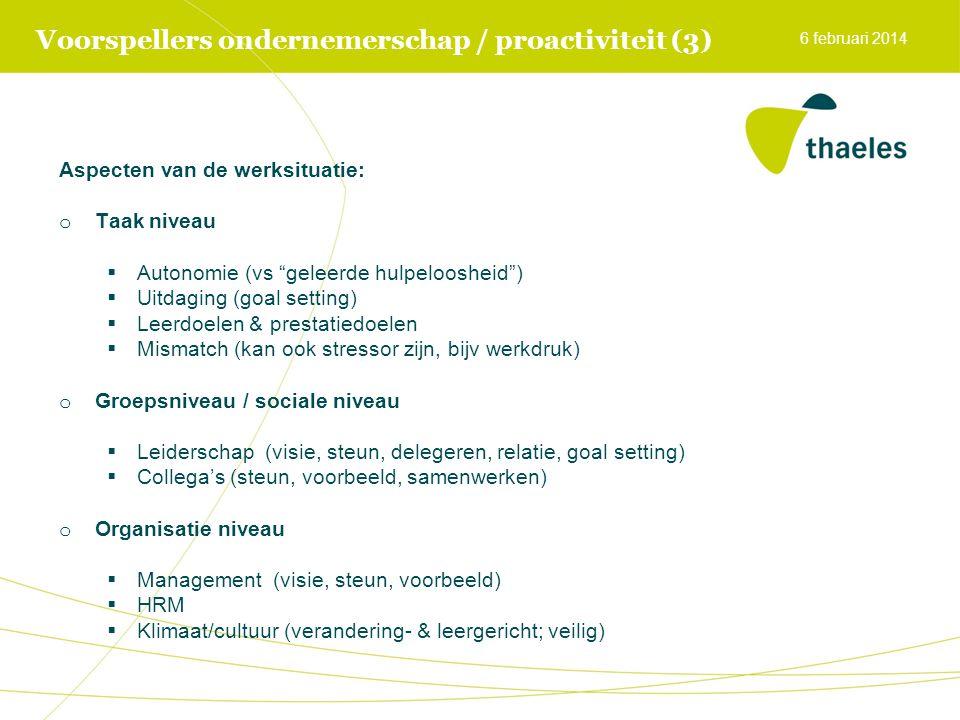 """Voorspellers ondernemerschap / proactiviteit (3) Aspecten van de werksituatie: o Taak niveau  Autonomie (vs """"geleerde hulpeloosheid"""")  Uitdaging (go"""