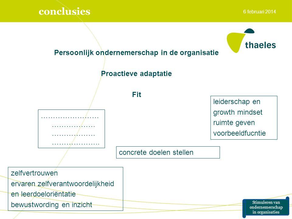 conclusies Persoonlijk ondernemerschap in de organisatie Proactieve adaptatie Fit 6 februari 2014 Stimuleren van ondernemerschap in organisaties zelfv