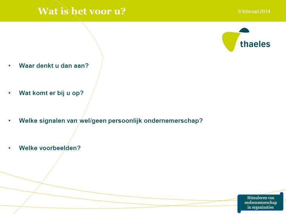 Wat is het voor u? •Waar denkt u dan aan? •Wat komt er bij u op? •Welke signalen van wel/geen persoonlijk ondernemerschap? •Welke voorbeelden? 6 febru