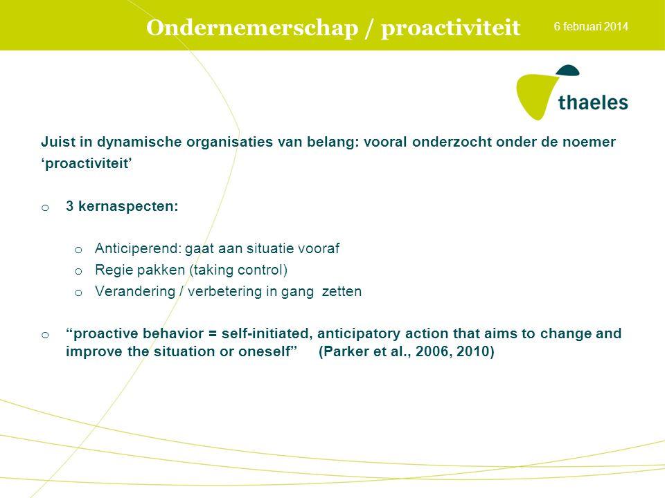 Ondernemerschap / proactiviteit Juist in dynamische organisaties van belang: vooral onderzocht onder de noemer 'proactiviteit' o 3 kernaspecten: o Ant