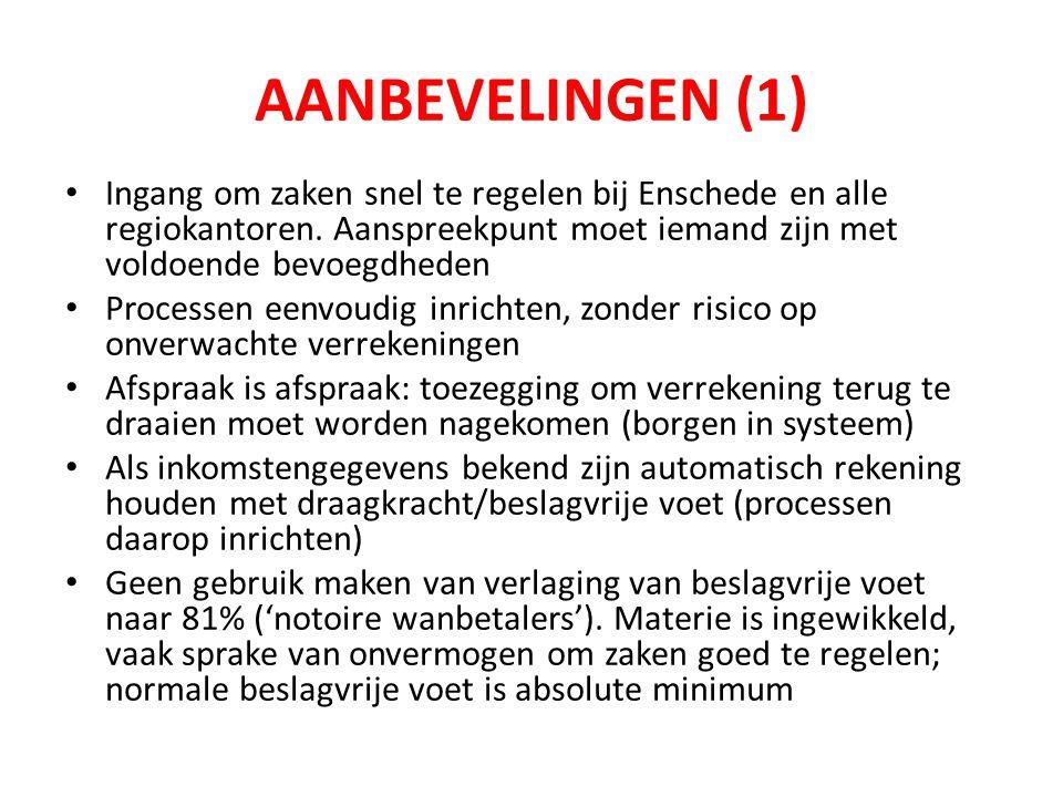 AANBEVELINGEN (1) • Ingang om zaken snel te regelen bij Enschede en alle regiokantoren.