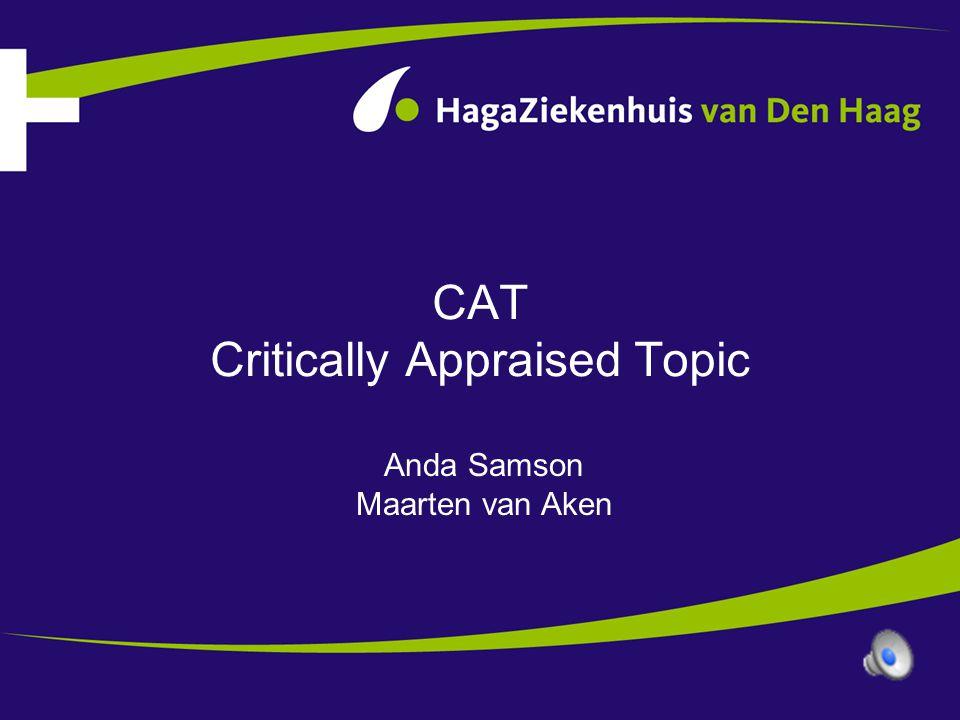 Workshop CAT •Inleiding •Format van een CAT •Evaluatie onderdelen van een CAT aan de hand van een voorbeeld •Andere aspecten van een CAT: –Toetsen van een CAT –Differentiatie naar opleidingsjaar –Tijdsinvestering