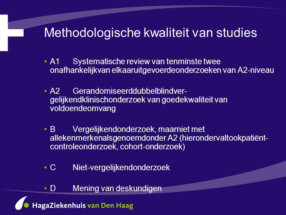 Methodologische kwaliteit van studies •A1Systematische review van tenminste twee onafhankelijkvan elkaaruitgevoerdeonderzoeken van A2-niveau •A2Gerand