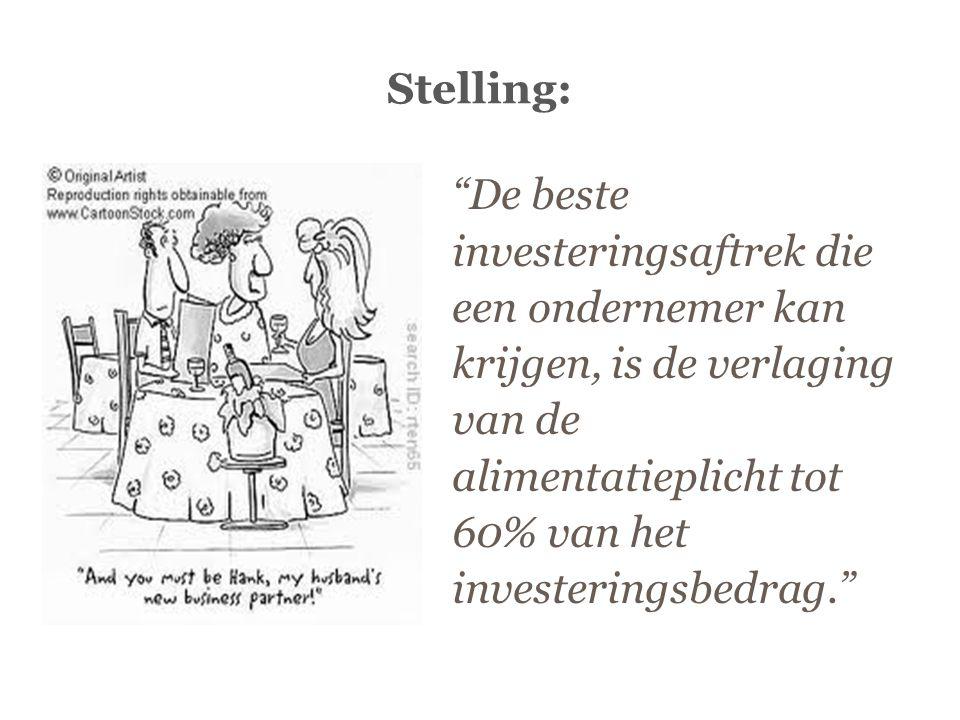 """Stelling: """"De beste investeringsaftrek die een ondernemer kan krijgen, is de verlaging van de alimentatieplicht tot 60% van het investeringsbedrag."""""""