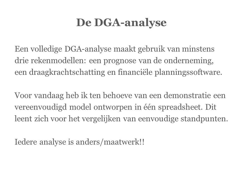 De DGA-analyse Een volledige DGA-analyse maakt gebruik van minstens drie rekenmodellen: een prognose van de onderneming, een draagkrachtschatting en f